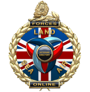 The forces online image, which is round, and has a nion glag background, with the words land, sea and air on it. The logo has a lion on top of it and is fully copyrighted by Forces Online CIO